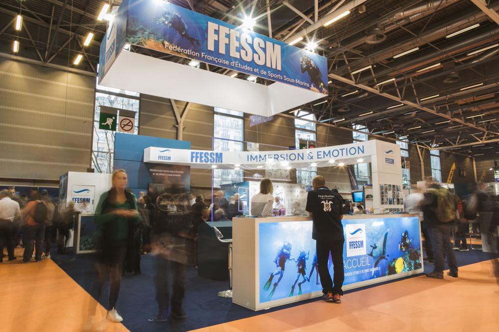 photo de reportage salon de la plongée à Paris, Agence de communication Mardi Bleu